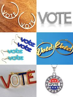 Get Out the Vote Jewelry Earrings and Brooches Get Out The Vote, Right To Vote, Voting History, Name Blocks, Patriotic Party, Letter Necklace, Block Lettering, Getting Out, Bracelet Making