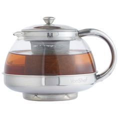 VonShef Stainless Steel Glass Infusion Tea Pot 600mls