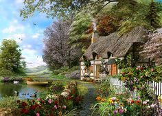 Country Cottage 1500 Piece Puzzle: Since 1891 we've been making the finest puzzles and it's our attention to detail which makes Ravensburger the world's greatest puzzle brand! Experience the quality, experience the Country Cottage! Wall Art Prints, Poster Prints, Decoupage Vintage, Thomas Kinkade, Rose Cottage, Beautiful Paintings, Home Art, Landscape Paintings, Countryside