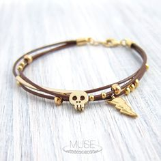 Skull and Lightning Bracelet  Gold Charm Leather by MuseByLAM, $27.00
