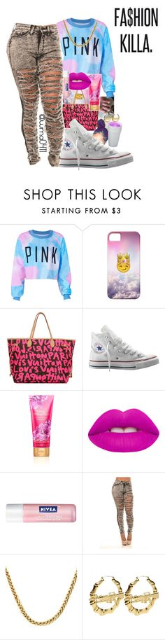 """hmu bae"" by group-3 ❤ liked on Polyvore featuring Louis Vuitton, Converse, Lime Crime and Nivea"