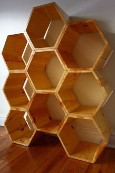 Shelving Unit ~ honeycomb shelving /bookcase /retail display /retail shelving /office shelving - set of 9 hexagon shelves with clear finish Office Shelving, Retail Shelving, Bookcase Shelves, Display Shelves, Modern Bookcase, Bookcases, Office Storage, Wall Storage, Modular Shelving