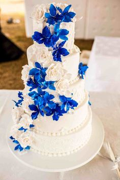 Blue orchid wedding cake relationship wants / royal blue dress for wedding / royal blue wedding dress / blue wedding dress royal / royal blue wedding Royal Blue Cake, Royal Blue Wedding Cakes, Royal Blue Flowers, Wedding Cakes With Flowers, Cool Wedding Cakes, Wedding Cake Designs, Bridal Flowers, Royal Blue Wedding Decorations, Wedding Ideas