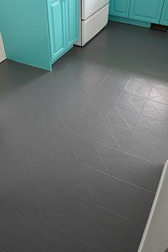 Bathroom Flooring Over Linoleum.Vinyl Tiles In Bathroom Need 1 4 Painted Bathroom Floors, Vinyl Flooring Bathroom, Painted Vinyl Floors, Vinyl Plank Flooring, Diy Flooring, Kitchen Flooring, Flooring Ideas, Paint Bathroom, Painted Tiles