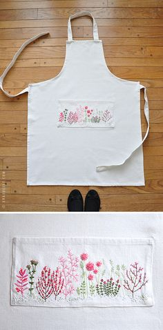 How cute is this apron....love the embroidery....Mon carnet: douce broderie