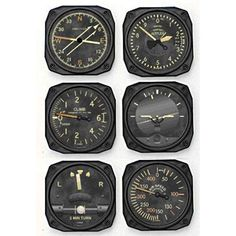 Vintage Airplanes Chicken Wings Shop Europe — Vintage Instrument Drink Coasters - Chucks favorite set of coasters since they almost resemble gages! This Vintage Instrument six-pack coaster set almost resembles the cockpit of. Deco Aviation, Aviation Theme, Aviation Art, Airplane Bedroom, Airplane Decor, Wing Shop, Aircraft Instruments, Aviation Furniture, Vintage Airplanes