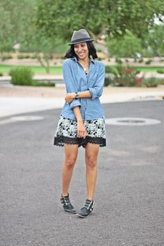 chambray + floral romper for a summer to fall transitional outfit inspiration