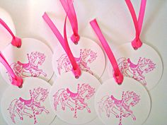 Pony, Hanging Tags, Carousel Horse, Gift Tags, Pink, 6 pcs, girls birthday, pre strung, hand stamped by Wcards