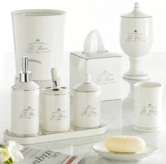 La Bain Cream Porcelain Parisian Style Bath Accessories traditional-bath-and-spa-accessories Spa Accessories, Bathroom Accessories Sets, Bathroom Sets, Bathrooms, Master Bathroom, Ikea Bathroom, Bathroom Furniture, Toilet Accessories, Bathroom Updates