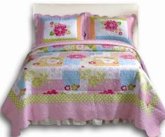 Greenland Home Adora Quilt Sets :           Bright and vibrant flowers and Greenland Home Butterflies adorn this colorful 100% cotton quilt. Greenland Home Adora features pink, blue, fuchsia, peach and apple green with white polka dots in a lively collage. Reverses to a coordinating colorful stripe for two looks in ...