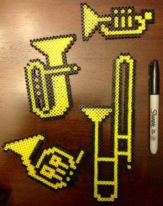 8-bit perler bead brass Instruments Trumpet by Mattsterpieces