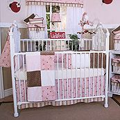Pink Ladybugs and Dragonflies 4 Piece Crib Bedding Set