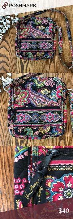 Vera Bradley Crossbody Mailbag Parisian Paisley This Vera Bradley crossbody mailbag is in excellent used condition. Color is mostly still vibrant, but there are a few areas with a bit of wear (see last picture). Lots of pockets and card slots. Vera Bradley Bags Crossbody Bags