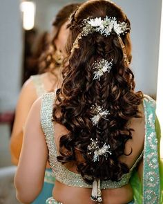 15 Indian Bridal Hairstyles With Flowers - Candy Crow # indian Hairstyles Bridal Hairstyle Indian Wedding, Bridal Hairdo, Hairdo Wedding, Bridal Hair Pins, Wedding Hairstyles For Long Hair, Braids For Long Hair, Bridal Hairstyle For Reception, Mehndi Hairstyles, Open Hairstyles