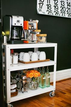 10 Essentials Every Small Home Should Have. Use a rolling cart to create a well-organized coffee station. Embellishing a Small Living Room For Visual Spaciousness. Interior Design Small Living Room Learn more by visiting the image link. First Apartment, Apartment Living, Cozy Apartment, Apartment Ideas, Apartment Makeover, Apartment Furniture, Apartment Design, Office Furniture, Apartment Office