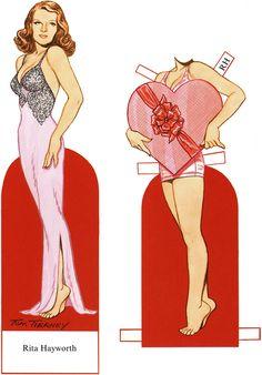 "Rita Hayworth, 1 of 1.  Source:  marlendy.wordpress.com. ALSO SEE NANCY KELLY'S BOARD: ""Paper Dolls, Celebrities"""