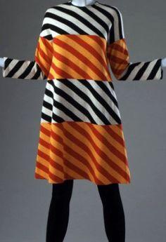 Rudi Gernreich - Robe - Rayures Noir sur Blanc et Rouge sur Orange - 1973