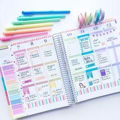 Love these colors! Blog Planner, Erin Condren Life Planner, Planner Pages, Happy Planner, Printable Stickers, Planner Stickers, Bullet Journal Ideas Pages, Bullet Journals, Planner Organization