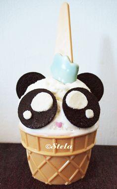 nothing makes ice cream better then making it into a panda head #panda #icecream #kawaii