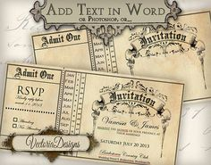 Printable Invitation Ticket editable 6 x 3 inch by VectoriaDesigns, $3.65