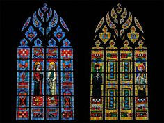 Stained glass windows of showing : to the left, Saint-Jeanne of France and Saint-Genevieve ; to the right Saint-Yves and the Ars Bishop. St Genevieve, Saint Yves, Architectural Antiques, French Decor, Stained Glass Windows, Empire State Building, 19th Century, Old Things, France