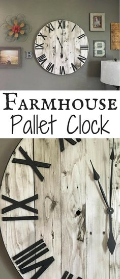 This Pallet Clock Is Gorgeous! Shiplap Clock, Shiplap, Rustic Clock,  Oversized Wall