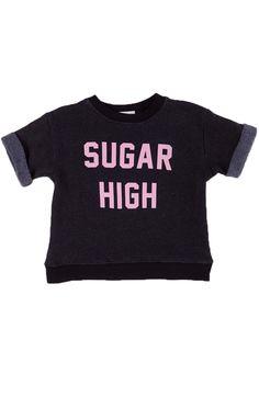 SUGAR HIGH - BRAT PACK SWEATER at Wildfox Couture in - CLEAN BLACK, MALIBU PINK