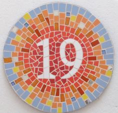 Mosaic house number made to order with variety by handmadebyhippo