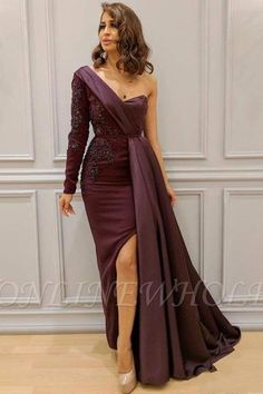 Cheap long dress, Buy Quality applique dress directly from China dress formal Suppliers: Vestido Longo Brown Long Dresses Avondjurk Robe de soiee Hochzeits. Prom Dresses Long With Sleeves, Long Prom Gowns, Formal Dresses, Dress Sleeves, Long Gown With Slit, Prom Gowns Elegant, Ladies Dresses, Pink Dresses, Formal Wear