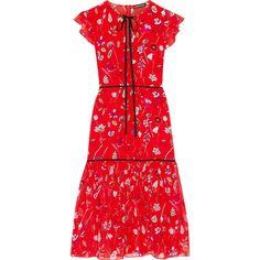 Markus LupferPrinted Silk-chiffon Midi Dress ($545) ❤ liked on Polyvore featuring dresses, red, calf length dresses, flower print dress, long sleeve ruffle dress, floral print dress and floral midi dress