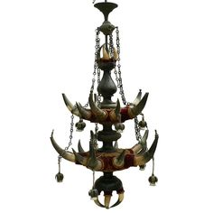 a ceiling lamp made of original bull horns, wood, brass and velvet fabric. executed in Austria ca. 1880 | eBay