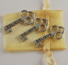 Set of 3 Believe Mini Keys with Organza Bag by CourageInStone