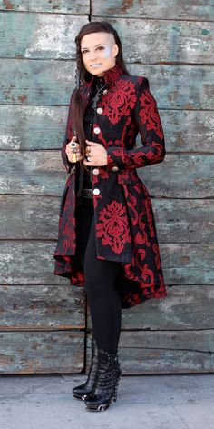 A luxurious modern romantic frock coat made in rich velvet brocade fabric with an intricate tapestry pattern. The coat is fitted through the Steampunk Costume, Steampunk Clothing, Steampunk Fashion, Gothic Fashion, Steampunk Jacket, Romantic Fashion, Mode Baroque, Coat Dress, Frock Coat