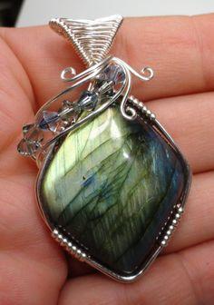 Showy Labradorite with Swarovski Crystals Wire Wrapped Pendant