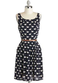 Swans Upon a Dream Dress. Flock to fun-loving fashion by zipping into this swan-printed dress, then meet up with the girls for lunch! #blue #modcloth