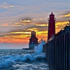 A beautiful Grand Haven sunset, captured by @tototoophoto. #puremichigan #fall #sunset