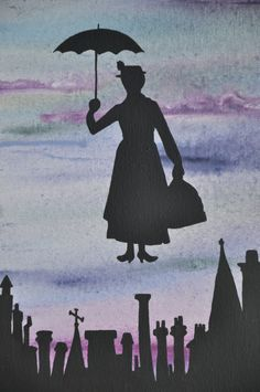 FREE SHIPPING Mary Poppins painting Mary Poppins by StarlingNight