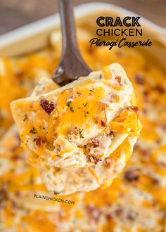 Frozen pierogies tossed in alfredo sauce, ranch dressing mix, bacon, cheddar and chicken. Can make ahead and refrigerate or freeze for later. Pierogi Casserole, Casserole Recipes, Crockpot Recipes, Chicken Recipes, Cooking Recipes, Pierogi Sauce, Noodle Casserole, Baked Pierogi Recipe, Casserole Dishes