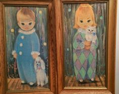 Vintage 1960's Large Framed Sherle Harlequin Prints Big Eyes Kitsch