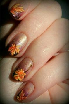 Fall nails this design is cute for thanksgiving!