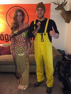 Mermaid and Fisherman Homemade Halloween Couples Costume