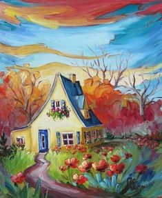 Landscaping Places Near Me Cottage Art, Cow Art, Naive Art, Whimsical Art, House Painting, Painting Inspiration, Landscape Paintings, Watercolor Art, Art Drawings