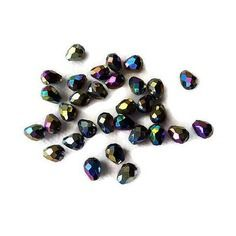 Perles de verre larmes à facettes irisées 8 x 6 mm x 10