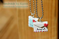 Envelope and Stamp Best Friends necklace set by HandmadebyAlyssa, $14.99