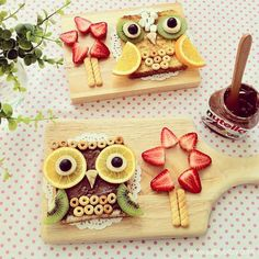 Pin for Later: 61 Food Art Ideas For Kids That Are Almost Too Cute to Eat What a Hoot! What a hoot! Nutella, kiwi, Cheerios, and more come together for a supersavory treat.