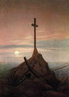 Caspar David Friedrich, Croce sul mar Baltico - Kreuz an der Ostsee, 1815. Olio su tela, 45 × 33,5. Berlino, Schloss Charlottenburg.