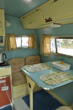 44 Vintage Caravan Interiors Retro Camper – Famous Last Words Vintage Caravan Interiors, Vintage Camper Interior, Retro Caravan, Trailer Interior, Vintage Campers Trailers, Retro Campers, Rv Campers, Vintage Caravans, Camper Trailers