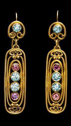 Art Nouveau Yellow Gold, Blue Zircon and Pink Tourmaline Ear Pendants, Tiffany & Co | JV