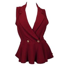 eVogues Apparel Plus size Spread Collar Sleeveless Vest Top Burgundy at Sears.com