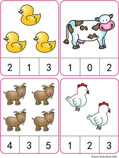 Count and Clip Cards: Farm Animals farm animals Farm Animals Count and Clip Cards (Numbers Farm Animals Preschool, Preschool Writing, Numbers Preschool, Toddler Learning Activities, Preschool Learning Activities, Camping Activities, Kindergarten Math Worksheets, Count, Montessori